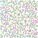 Vintage floral seamless pattern on white background
