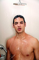 Man taking a shower at the gym