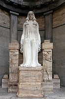 Monumental sculpture of a grieving woman, historic mausoleum of the Henkel family of industrialists, Nordfriedhof Cemetery, Duesseldorf, North Rhine_W...