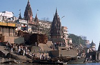 Temples along side river ganges Varanasi India
