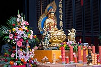 A golden Buddha, Wenshu Temple, Chengdu, Sichuan Province, China