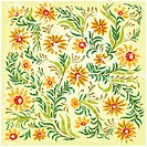 abstract cracked yellow background with floral ornament