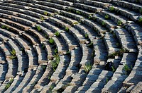 Rows of theater in Ephesus, Turkey, overrun with weeds and backpack
