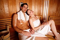 A couple enjoying a sauna together