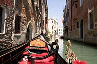 On board a Gondola in Venice Italy