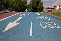 Cycle path in city, Limehouse, Tower Hamlets, London, England, september