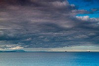 View of Juan de Fuca straights from Port Townsend with cloudscape