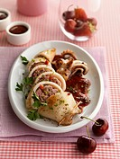 Stuffed squid with cherry sauce
