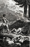 Cain has killed his brother Abel, biblical scene, historical illustration, 1865