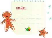 Christmas recipe with cookies isolated on white background. Write your own text! Vector Illustration.