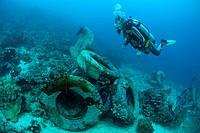 Diver checking an artificial reef, sunk truck tires to enrich and to repair the damaged reefs, Cebu province, Philippines, Asia