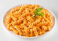 Fusilli in chicken and paprika sauce