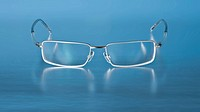 A photography of a modern eye glasses