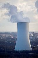 Cooling Tower emitting Steam _ Recklinghausen, North Rhine_Westphalia, Germany