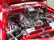 Chromed V8 engine of an American luxury sports car
