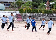 Children playing soccer, Koh Samet, Thailand, Asia