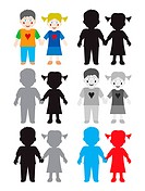 Illustration of happy kids in color and black white versions. Isolated white background. EPS file available.