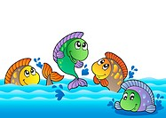 Cute freshwater fishes in river _ color illustration.