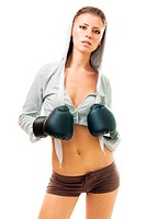 Young beautiful confident woman in boxing gloves, front view,isolated