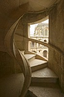 Circular stairway of the Convent of the Knights of Christ and Templar Castle, founded by Gualdim Pais in 1160 AD, is a Unesco World Heritage Site in T...