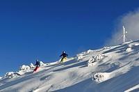 Skiers, Steinplatte skiing region, Reit im Winkl, Chiemgau, Bavaria, Germany, Europe