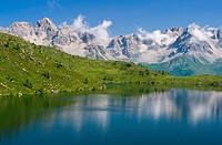 summer view of lake Cavia near San Pellegrino pass, Trentino, Italy