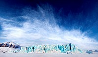 A dramatic panorama of a glacier on Spitsbergen Island, Svalbard, Norway