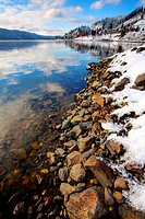 A winter scenic of Lake Coeur d´Alene in northern Idaho at Higgens Point.