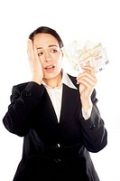 Business woman in front of the white background with the money , euro