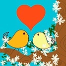 Valentine Day background with love birds