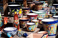 United States, Arizona, Sedona. Crafts store with colorful ceramic display