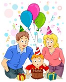 Illustration of a Happy Family Celebrating the Child´s Birthday