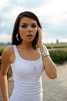 girl in a white t_shirt