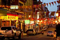 Chinatown at dusk in San Francisco, California, USA