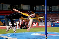 British Open Athletics Championships 2003 games, athlete taking part in a high jump event,