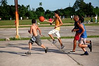 Boys playing basketball at Pinar del Rio, Cuba,