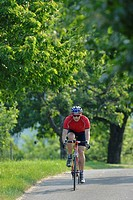 Cyclist riding a high_quality carbon road bike, Weinstadt, Baden_Wuerttemberg, Germany, Europe
