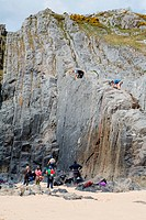Group of adults rock climbing,