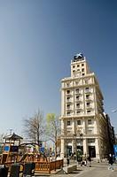 Building facade in Lerida citycentre, Catalonia, Spain