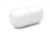 Capsule on a white background, medical preparations