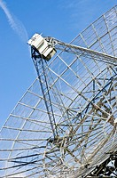 The receiver of a radio telescope dish, searching the skies in a quest for new planetary systems
