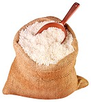 Sack Of White Long Grain Rice Cut Out