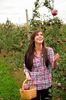 Young woman in orchard, throwing apple in the air