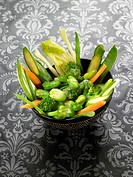 Steam_cooked vegetables with miso dressing