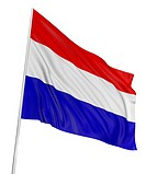 3D Netherlands flag with fabric surface texture. White background