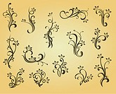 Set of vintage decorations in victorian style for ornate and design