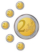 Two euro coins on the white background VECTOR