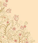 Abstract flower background with decoration elements for seasonal design