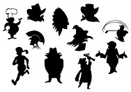 Set of cartoon silhouettes isolated on white background