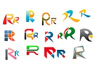 Set of alphabet symbols and elements of letter R